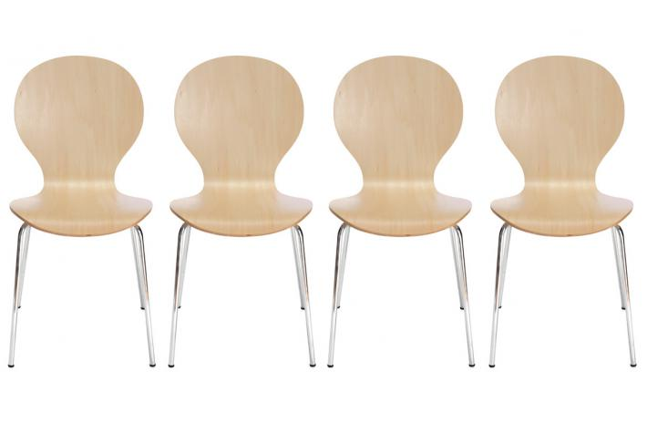 Lot de 4 chaises TESSA Naturel