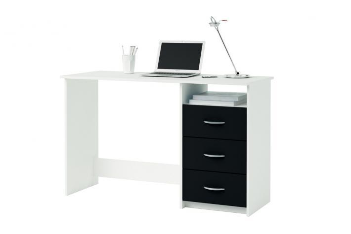 Bureau 3 tiroirs aristote blanc noir design en direct de l for Bureau noir blanc
