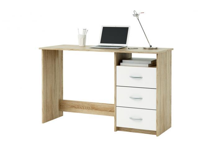 Bureau 3 tiroirs aristote ch ne blanc design sur sofactory for Bureau 3 tiroirs biface