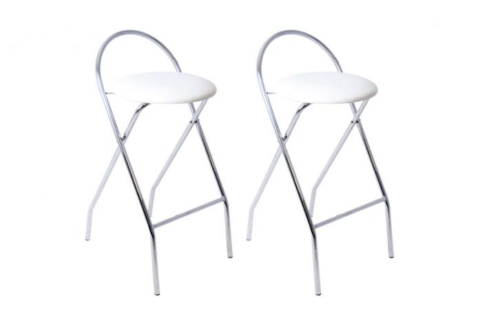 Lot de 2 tabourets pliants jolo blanc design sur sofactory - Tabouret de bar pliant ...