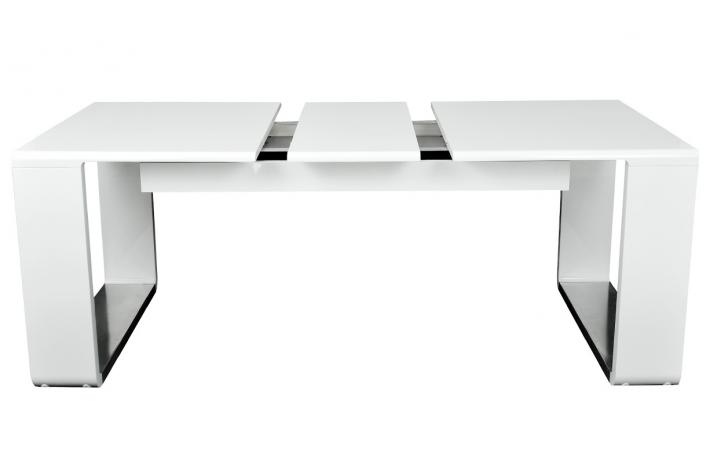 Table extensible laqu e katie blanc design sur sofactory - Table extensible laquee ...