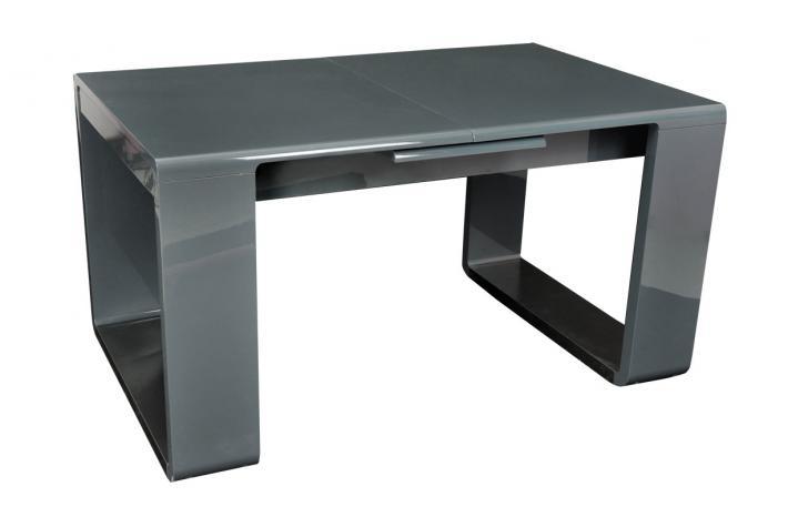 Table extensible laqu e katie gris design sur sofactory - Table laquee extensible ...