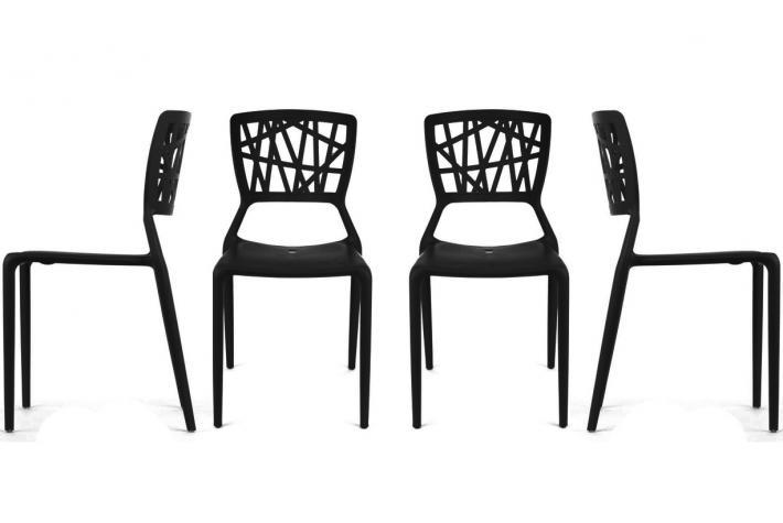 Lot de 4 chaises kristina noir design pas cher sur sofactory - Lot de 4 chaises pas cher ...