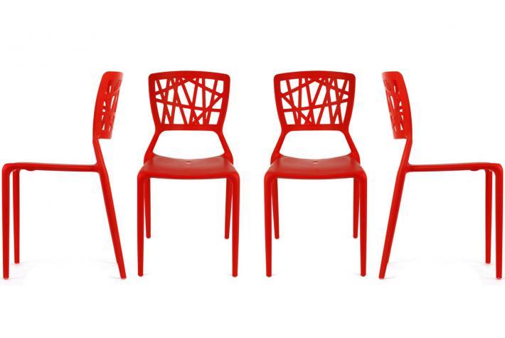Lot de 4 chaises kristina rouge design sur sofactory for Chaise factory rouge