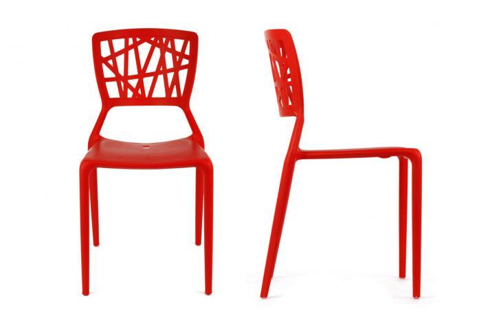 Lot de 4 chaises kristina rouge design en direct de l 39 usine sur sofactory for Chaise factory rouge