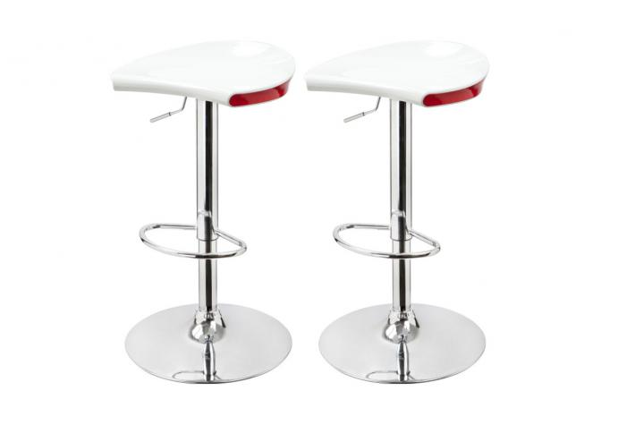 Lot de 2 tabourets de bar MIZZ Blanc Et Rouge