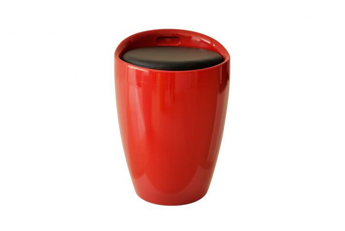 Pouf coffre de rangement mambo rouge design pas cher sur - Coffre pouf de rangement ...