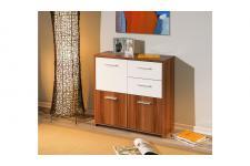Buffet 3 portes et 2 tiroirs FESTINO Noyer-Blanc
