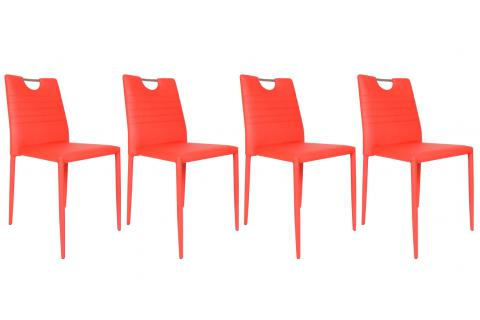 Lot de 4 chaises SMILY Rouge