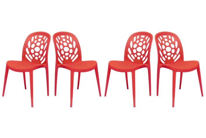 Lot de 4 chaises empilables BUCOLIK Rouge