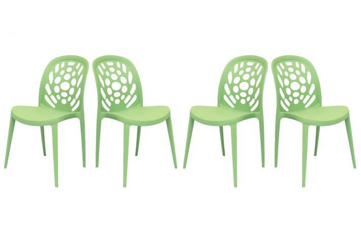 Lot de 4 chaises empilables bucolik vert design pas cher for Lot de 8 chaise pas cher