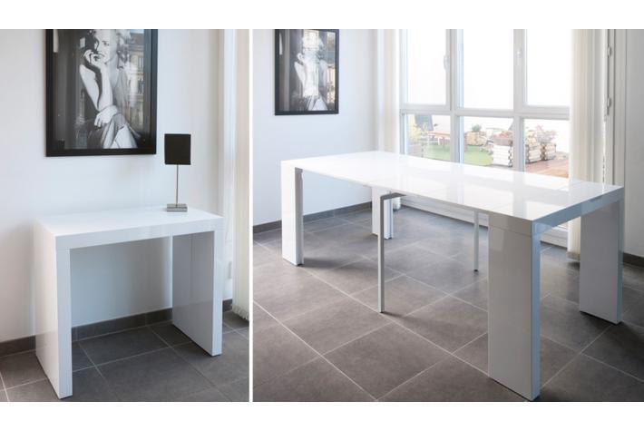 Console extensible laqu e 250 cm marlene blanche design pas cher sur sofactory - Console extensible 250 cm ...