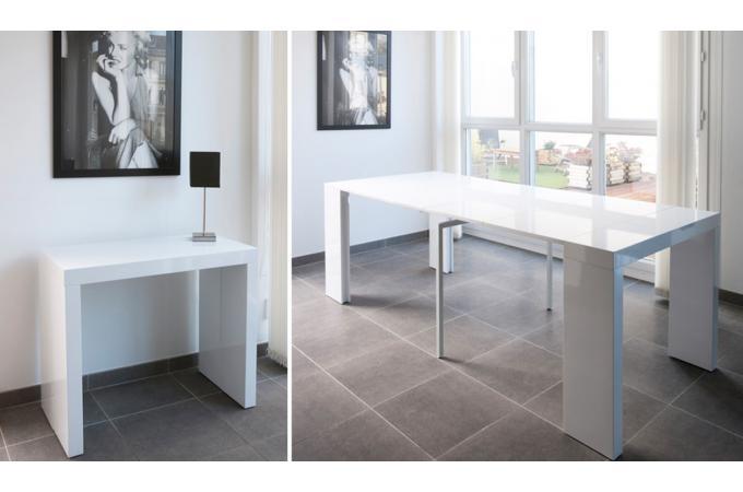 console extensible blanche 250cm laque marlene design sur sofactory. Black Bedroom Furniture Sets. Home Design Ideas