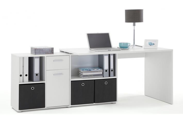 bureau d 39 angle r versible rob blanc design pas cher sur sofactory. Black Bedroom Furniture Sets. Home Design Ideas