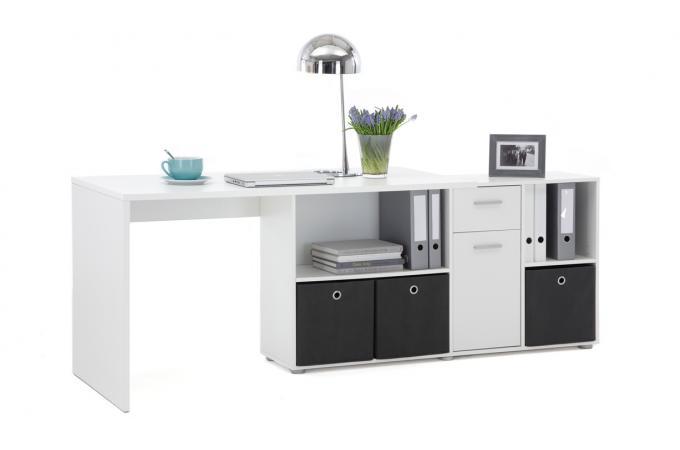 Bureau d angle réversible rob blanc design sur sofactory