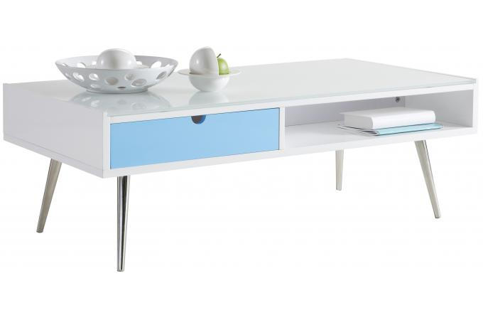 Table basse rectangulaire blanche domino design en direct - Table de salon rectangulaire ...