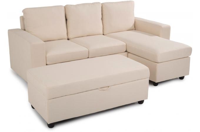 Canap d 39 angle en eucalyptus convertible et r versible zook design sur sofactory - Canape dangle convertible 2 pl cuir beige ...