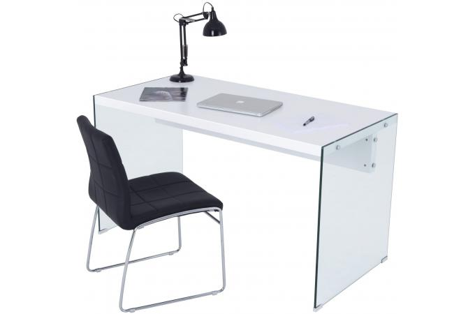 Bureau blanc et verre western design sur sofactory - Bureau en verre blanc ...