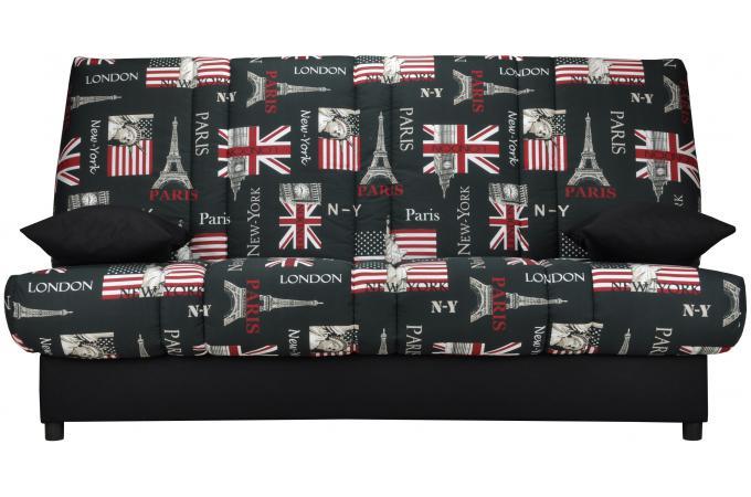 banquette clic clac 130x190 city matelas mousse sofaflex 11cm kalideo design. Black Bedroom Furniture Sets. Home Design Ideas