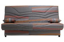 Banquette Clic-Clac uni 130x190 Gris et Orange Matelas mousse Sofaflex 13cm SALLY