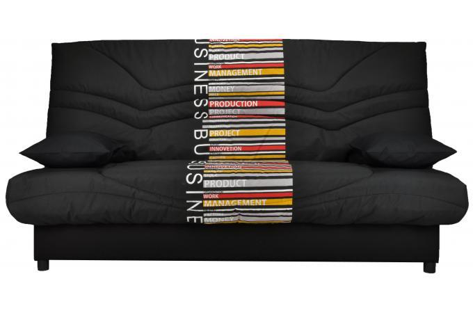 banquette clic clac uni 130x190 noir et jaune matelas mousse sofaflex 13cm sally design pas cher. Black Bedroom Furniture Sets. Home Design Ideas