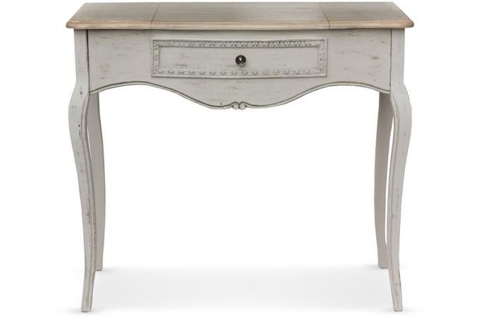 coiffeuse avec miroir rabattable gris troie design en direct de l 39 usine sur sofactory. Black Bedroom Furniture Sets. Home Design Ideas