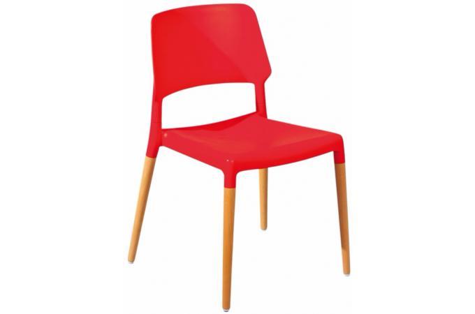 Lot de 4 chaises design rouges tilde design pas cher sur sofactory for Chaise factory rouge