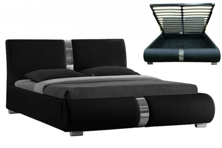 ensemble lit coffre sommier relevable noir et matelas. Black Bedroom Furniture Sets. Home Design Ideas