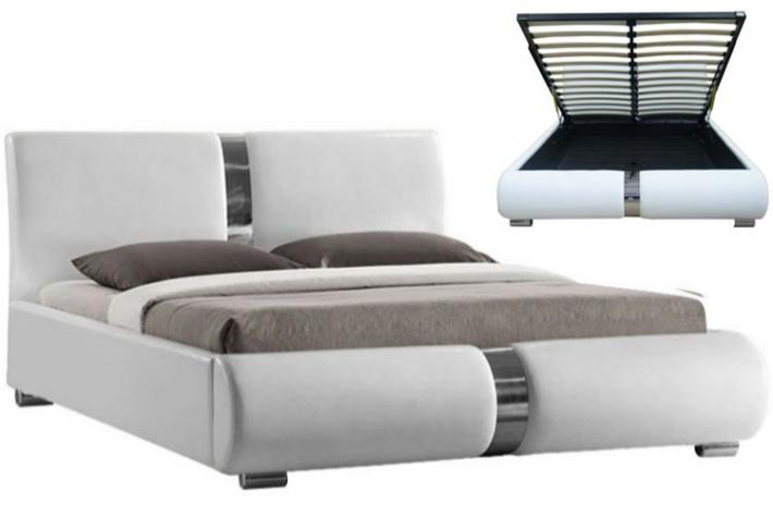 ensemble lit coffre sommier relevable blanc et matelas mousse 140 x 190 macao 2 design sur sofactory. Black Bedroom Furniture Sets. Home Design Ideas