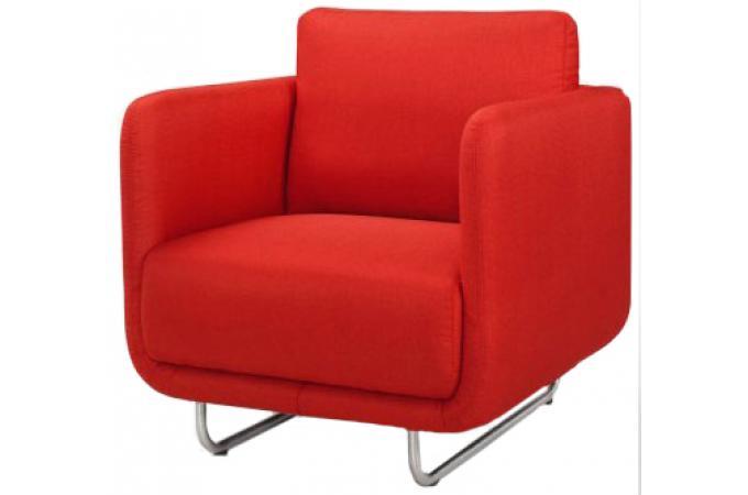 Fauteuil design rouge pieds metal bross djoon design sur - Fauteuil rouge design ...