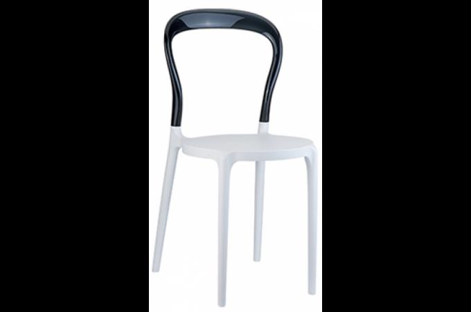 Chaise design noire et blanche mister design pas cher sur sofactory - Chaise design transparente polycarbonate ...