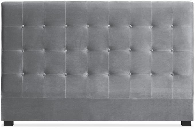 t te de lit capitonn e en velours 180 cm coloris argent ambrosia design sur sofactory. Black Bedroom Furniture Sets. Home Design Ideas