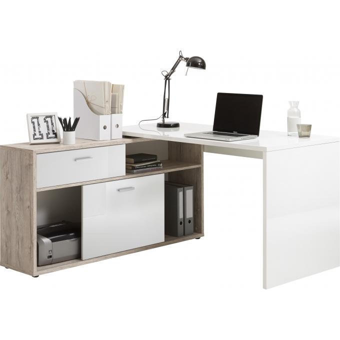 bureau d 39 angle avec rangements elsa design sur sofactory. Black Bedroom Furniture Sets. Home Design Ideas