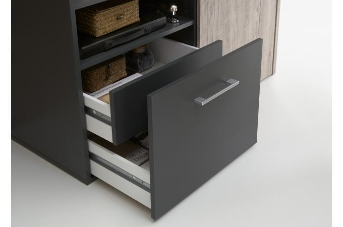 bureau d 39 angle r tractable avec rangements jill design sur sofactory. Black Bedroom Furniture Sets. Home Design Ideas