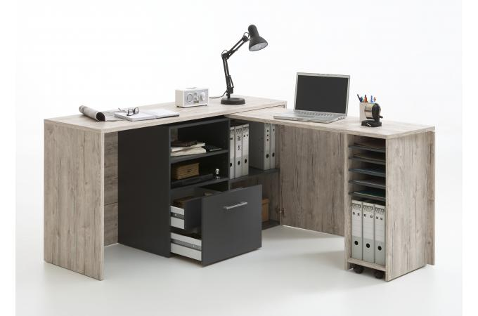bureau d 39 angle r tractable avec rangements jill design sur. Black Bedroom Furniture Sets. Home Design Ideas