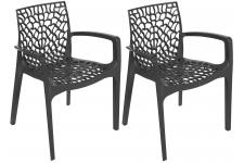 Lot De 2 Chaises Anthracite Avec Accoudoirs FILET Sofactory