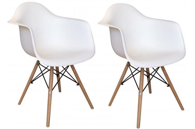 lot de 2 chaises d co scandinaves avec accoudoir blanches iceland design pas cher sur sofactory. Black Bedroom Furniture Sets. Home Design Ideas