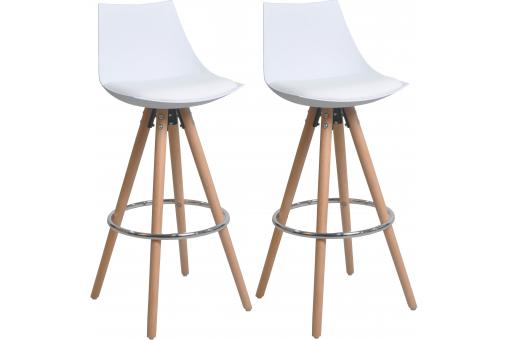 Lot de 2 Tabourets de bar blancs scandinaves MILAN