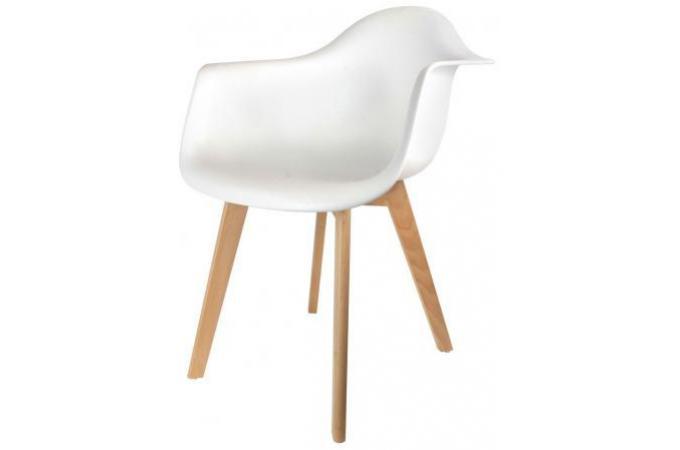 chaise scandinave avec accoudoir blanc norway design sur sofactory. Black Bedroom Furniture Sets. Home Design Ideas