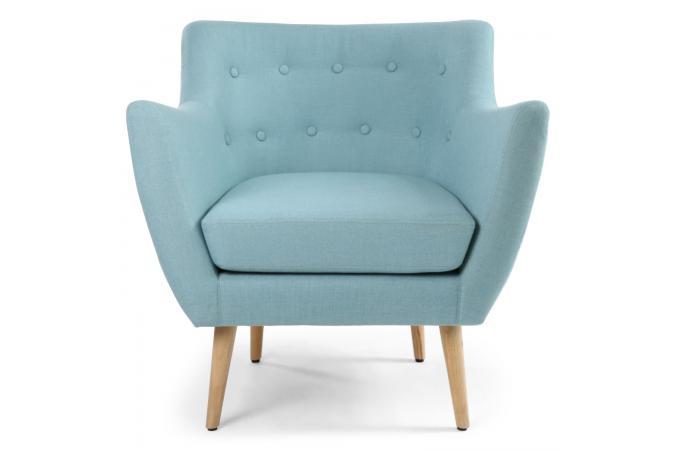 Fauteuil Scandinave Tissu Bleu LYDUM Design Sur SoFactory - Fauteuil tissu bleu