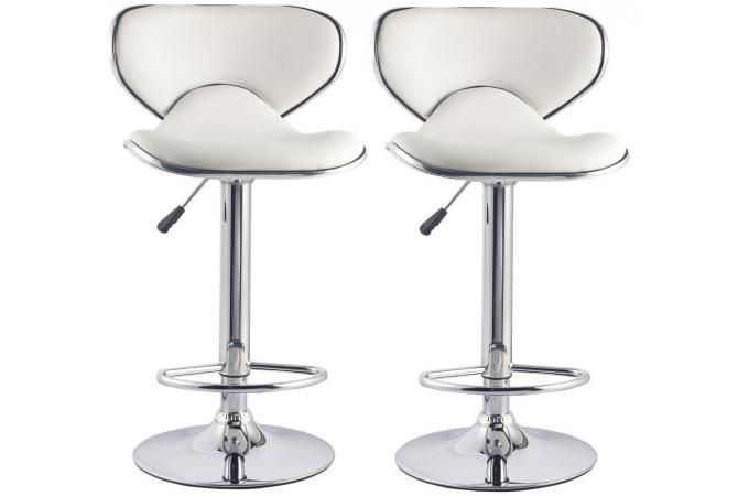 Lot de 2 tabourets de bar blancs en acier et simili cuir MELBOURNE