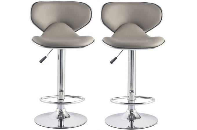 lot de 2 tabourets de bar gris taupe melbourne design sur sofactory. Black Bedroom Furniture Sets. Home Design Ideas