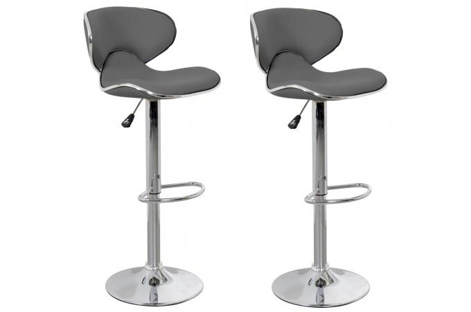 Lot de 2 tabourets de bar anthracite MELBOURNE