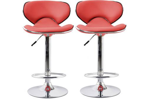 Lot de 2 tabourets de bar rouges MELBOURNE SoFactory