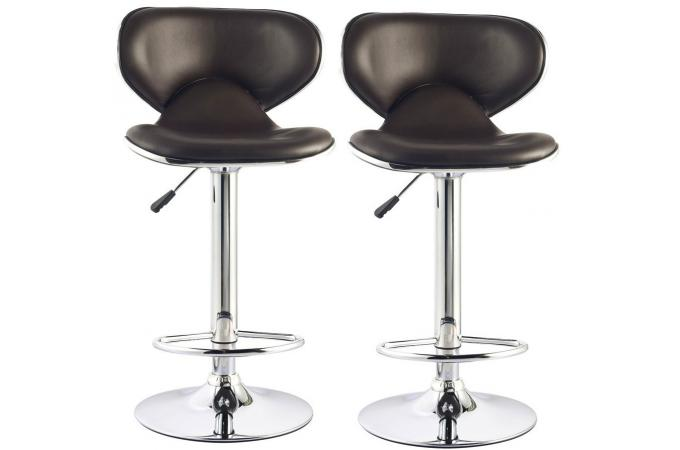 Lot de 2 tabourets de bar chocolat  MELBOURNE
