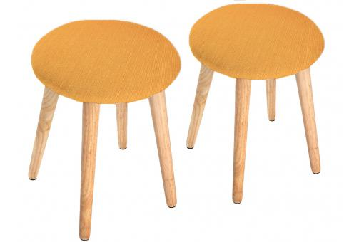 Lot de 2 Tabourets scandinaves ronds oranges KNUD