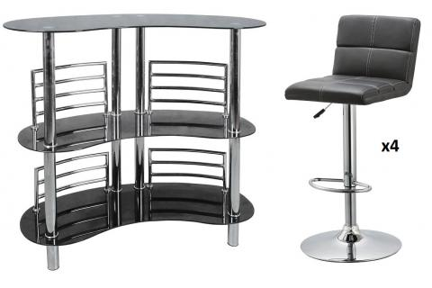 Ensemble Bar design et 4 Tabourets de bar PILOO