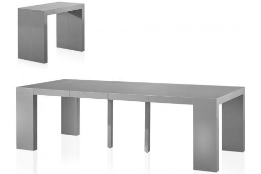 Table console extensible 4 rallonges gris laqu touch design en direct de l - Console extensible gris laque ...