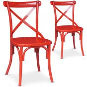 Lot de 2 Chaise En Métal Rouge BISTRO