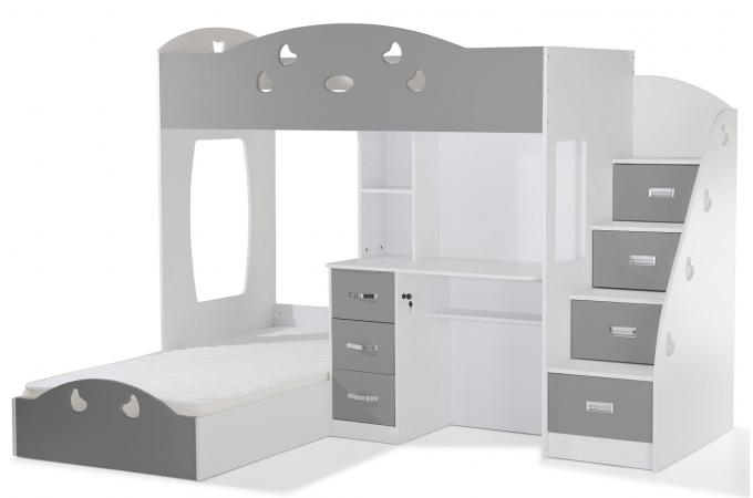 lit combin 2 couchages bureau blanc gris laila design sur sofactory. Black Bedroom Furniture Sets. Home Design Ideas